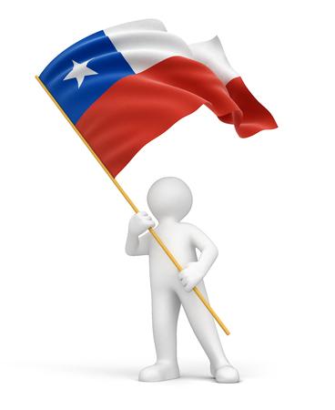 chilean flag: El hombre y la chilena trazado de recorte incluidos bandera