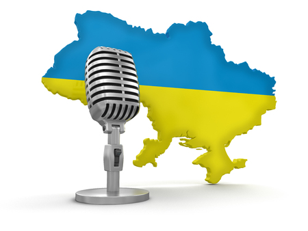 Microphone and Ukraine  clipping path included  photo