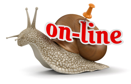 no rush: On-line Snail  clipping path included  Stock Photo