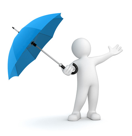Man with Umbrella  clipping path included  photo