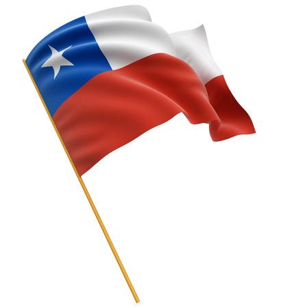 chilean flag: 3D trazado de recorte bandera chilena incluido
