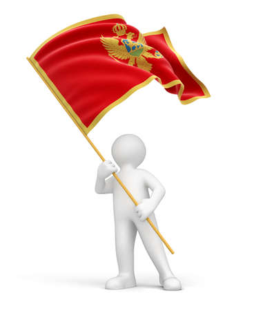 Man and Montenegro flag  clipping path included  Stock Photo