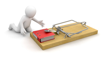 Man and Mousetrap with Document  clipping path included  photo