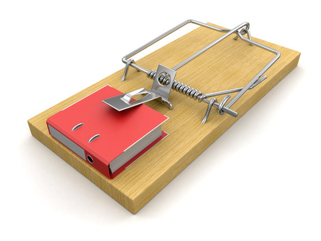 Mousetrap and Document  clipping path included  photo