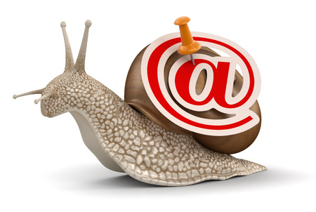 no rush: Snail and e-mail  clipping path included  Stock Photo