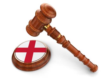 drapeau anglais: Maillet de bois et le drapeau anglais Banque d'images
