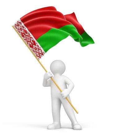 belarus: Man and Belarus flag   Stock Photo