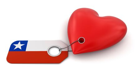 chilean flag: Heart with Chilean flag  clipping path included  Stock Photo