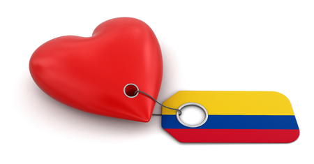 Heart with Colombian flag  clipping path included  photo