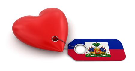 haitian: Heart with Haitian flag  clipping path included