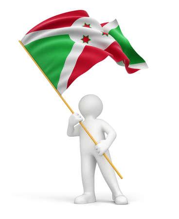 burundi: Man and Burundi flag