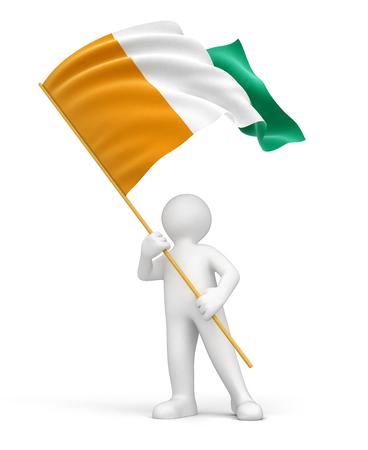 Man and Cote d ivoire flag  photo