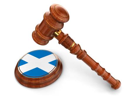 scottish flag: Wooden Mallet and Scottish flag  Stock Photo