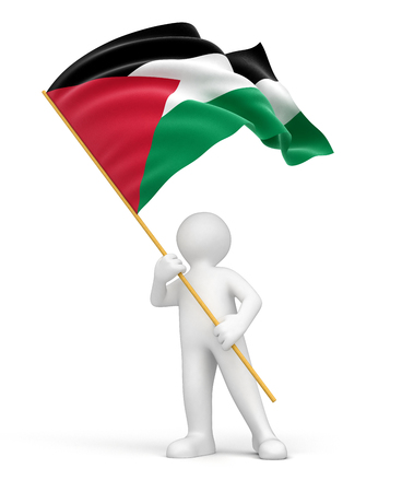Man and Palestinian flag   Stock Photo