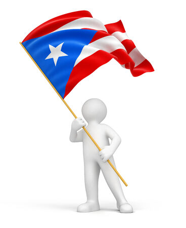 puerto rican flag: Man and Puerto Rican flag  clipping path included