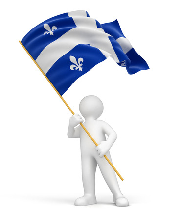 Man and flag of Quebec  clipping path included