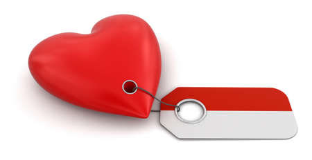 the indonesian flag: Heart with Indonesian flag   Stock Photo