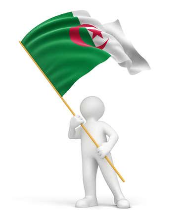 algerian flag: Man and Algerian flag