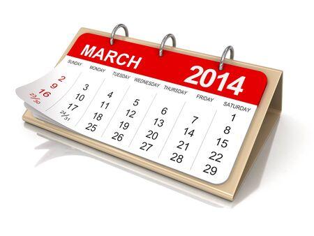 日曆 - 包括2014年3月剪切路徑 版權商用圖片