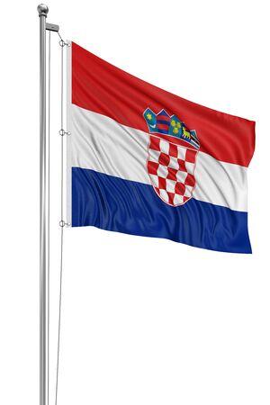 croatian: 3D Croatian flag Stock Photo