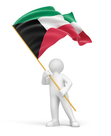 Man and Kuwait flag