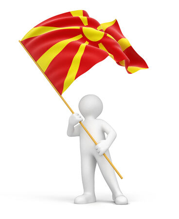 macedonian flag: Man and Macedonian flag