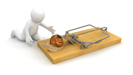 no rush: Man and Mousetrap with Snail