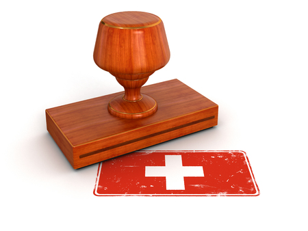 Rubber Stamp Swiss flag  clipping path included