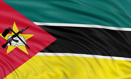 Mozambique: 3D flag of Mozambique  Stock Photo