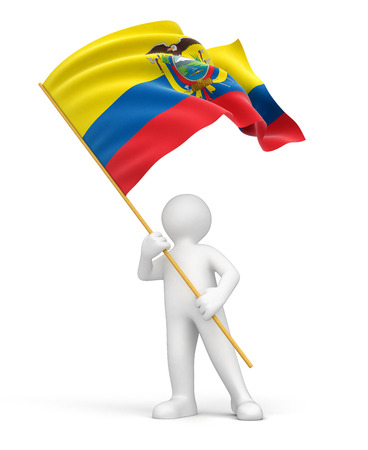 included: Man and Ecuadorian flag  clipping path included  Stock Photo