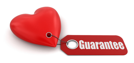 guarantor: Heart with label Guarantee   Stock Photo
