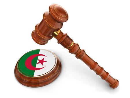 algerian flag: Wooden Mallet and Algerian flag