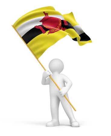 brunei: Man and Brunei flag