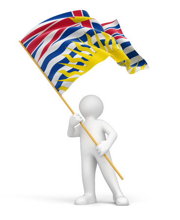 Man and flag of British Columbia   photo