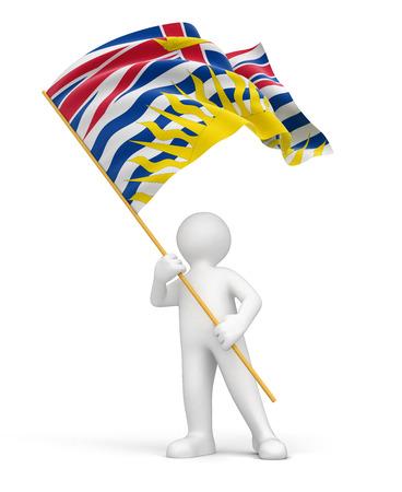 british columbia: Man and flag of British Columbia   Stock Photo