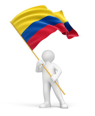 colombian flag: Man and Colombian flag  Stock Photo