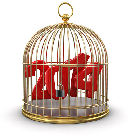 s trap: Gold Cage with 2014  clipping path included  Stock Photo