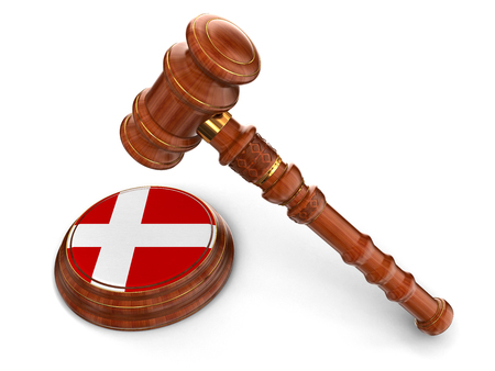 Wooden Mallet and Danish flag  clipping path included  Stock Photo