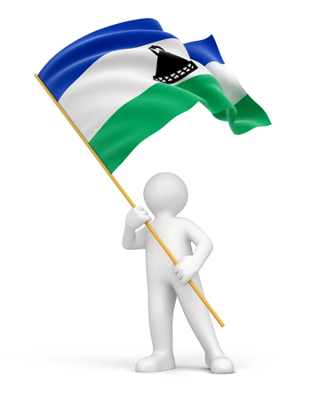 lesotho: Man and Lesotho flag  clipping path included