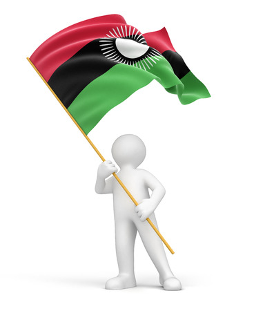 malawi flag: Man and Malawi flag  clipping path included  Stock Photo