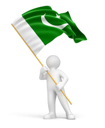 pakistan flag: Man and Pakistan flag  clipping path included
