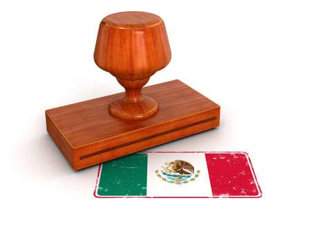bandera de mexico: Sello de goma trazado de recorte incluidos bandera mexicana Foto de archivo