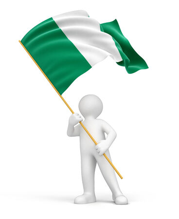 nigerian: Man and Nigerian flag