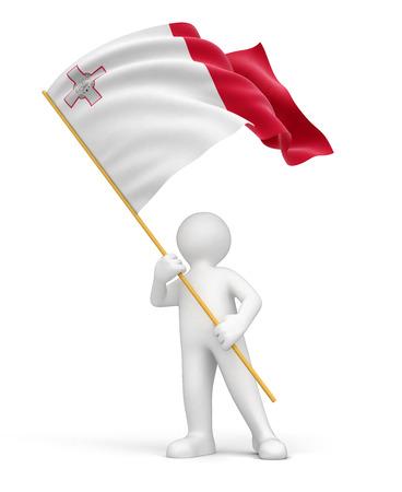 malta: Man and Malta flag