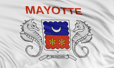 mayotte: 3D flag of Mayotte Stock Photo