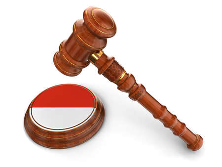 the indonesian flag: Wooden Mallet and Indonesian flag  clipping path included  Stock Photo