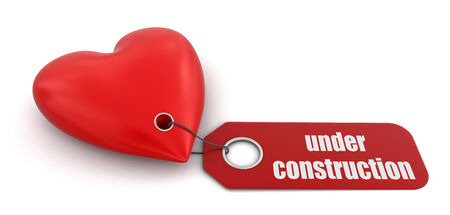 under heart: Heart with label Under Construction