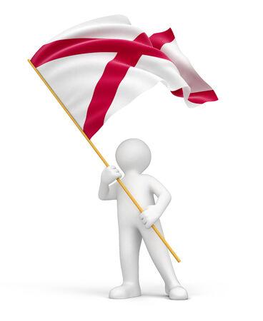 alabama flag: Man and flag of Alabama