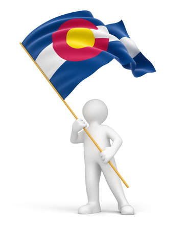 colorado flag: Man and flag of Colorado  clipping path included
