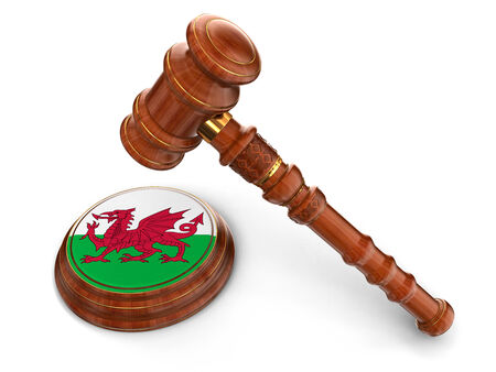 welsh flag: Wooden Mallet and Welsh flag  clipping path included